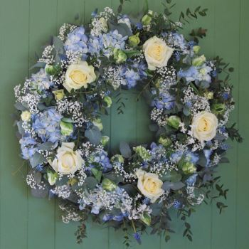 Blue Hydrangea and White Rose Wreath