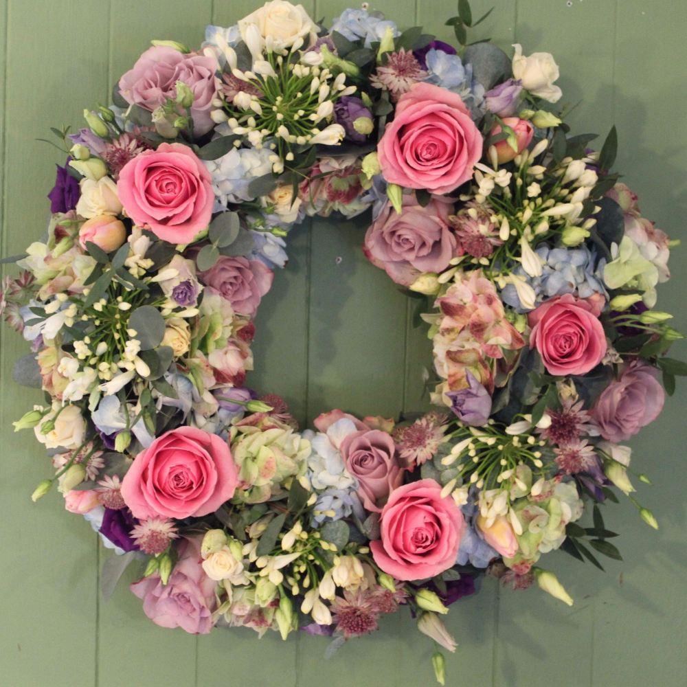 Pastel Rose Wreath