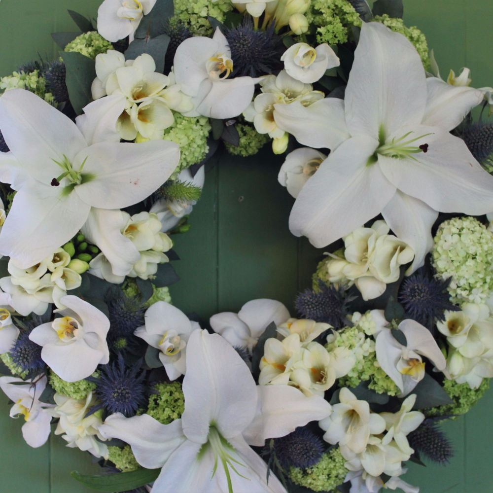 Orchid, Lily and Eryngium Wreath