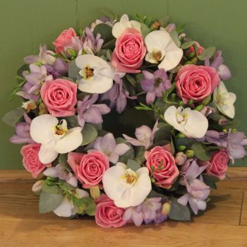 Rose, Orchid, and Freesia Wreath