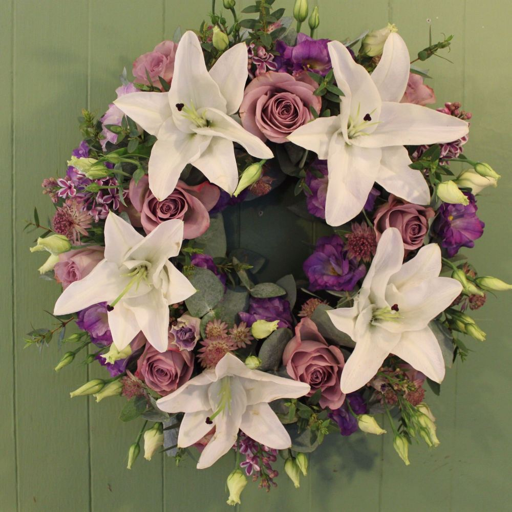 White Lily and Lilac Rose Wreath