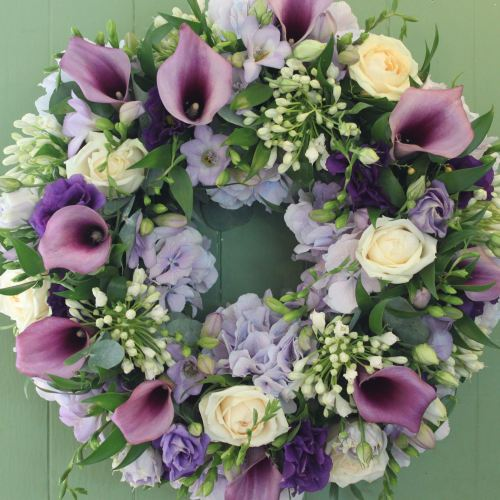 Calla lily, Rose and Hydrangea Wreath