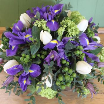 Lime, Purple & White Spring Posy
