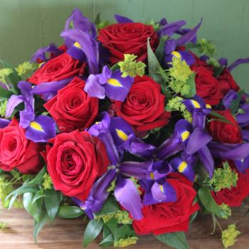 Red Rose and Iris Posy