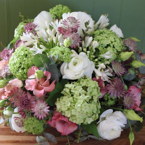 White, Lime and Pink Posy