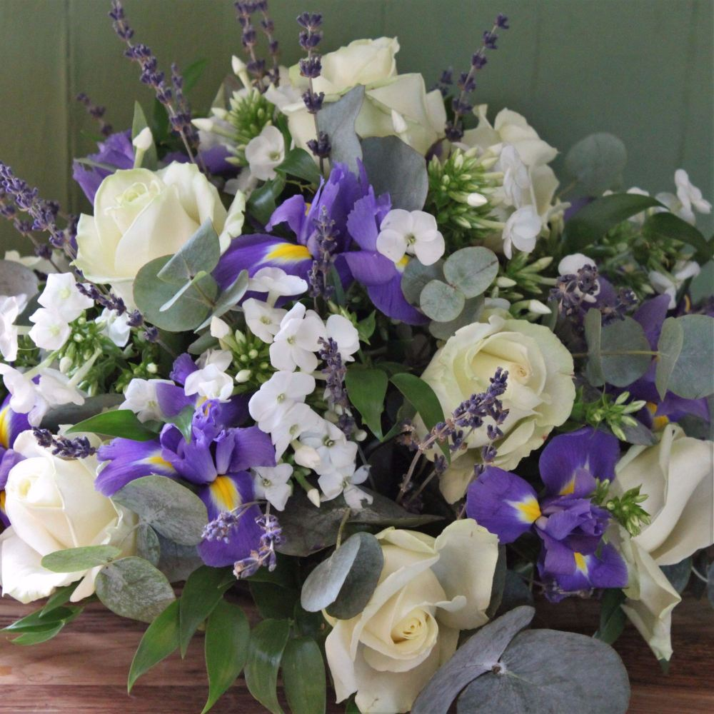 Ivory Rose, Iris and Lavender Posy