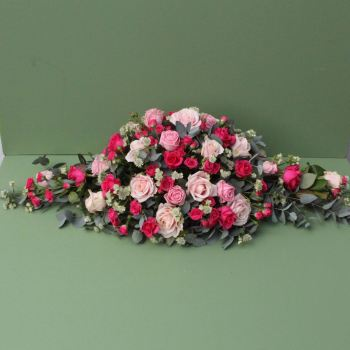 Pale and Cerise Pink Rose Coffin Spray