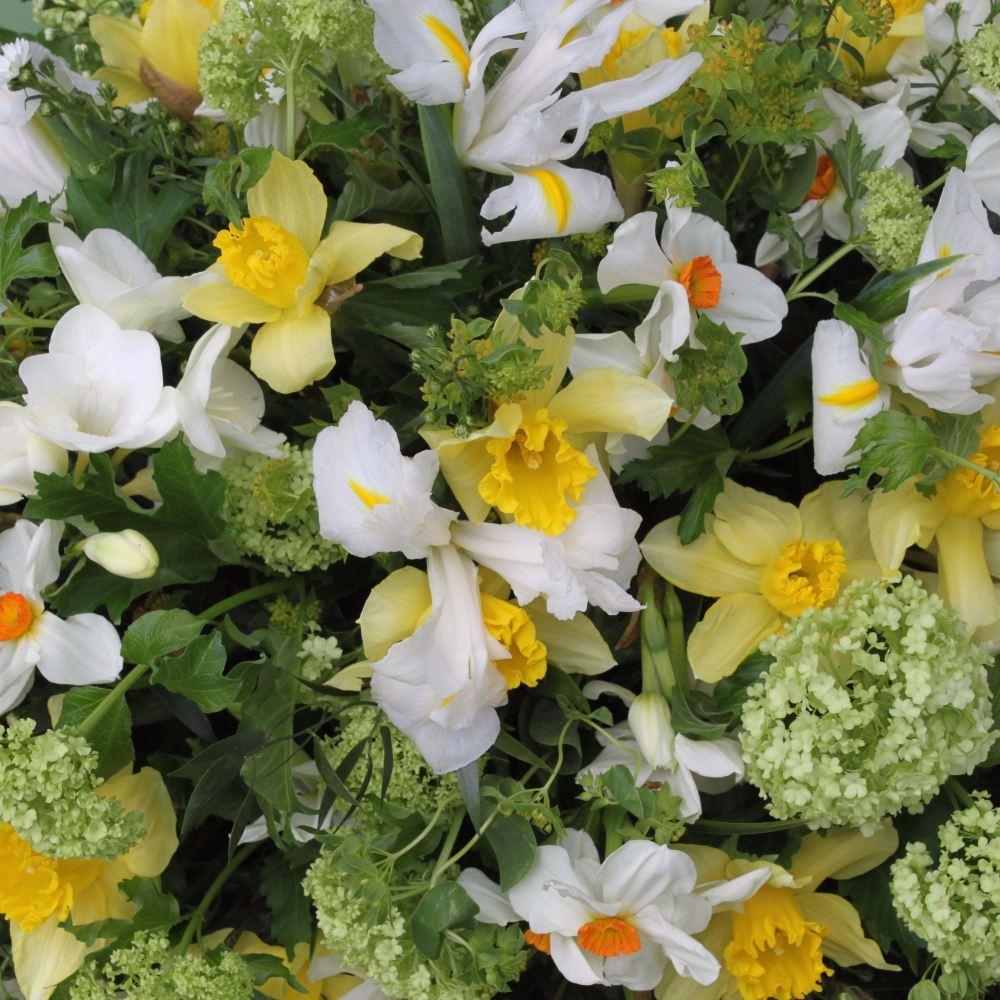 White, yellow & lime green seasonal spring Coffin Spray