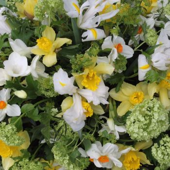 White, Yellow & Lime Green Seasonal Spring Coffin Spray