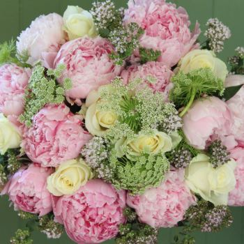 Pink Peony and Ivory Rose Bouquet