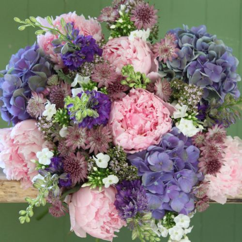 A Pink Peony and Purple Hydrangea Bouquet