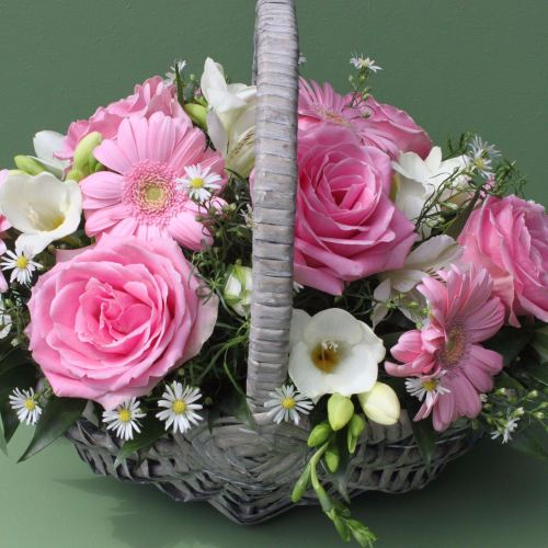 Pink and White Basket
