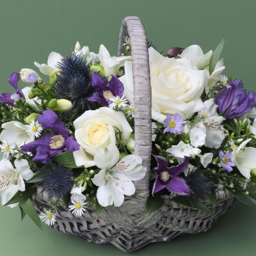 Blue, Purple and White Basket
