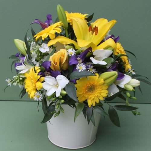 Yellow, Blue and White Scented Arrangement