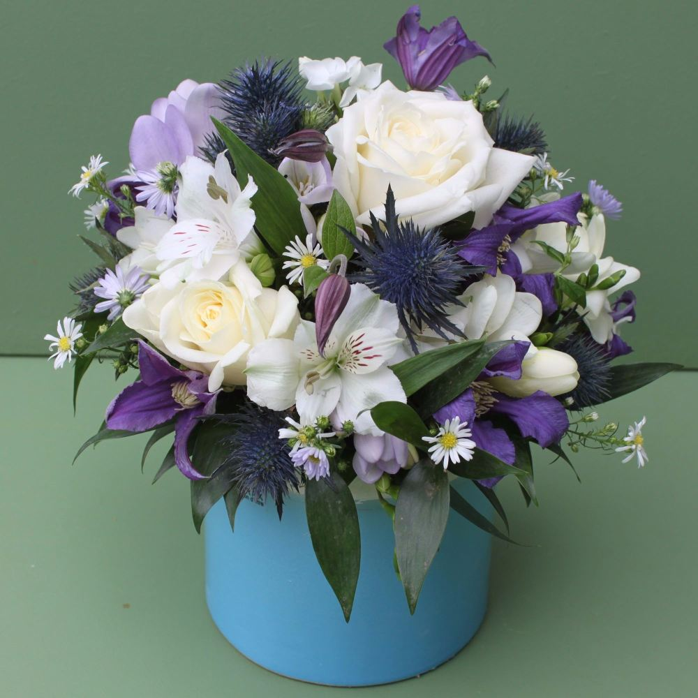 Purple, Blue and White Scented Arrangement