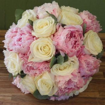 Ivory Rose and Peony Hand-tied Posy. Price from