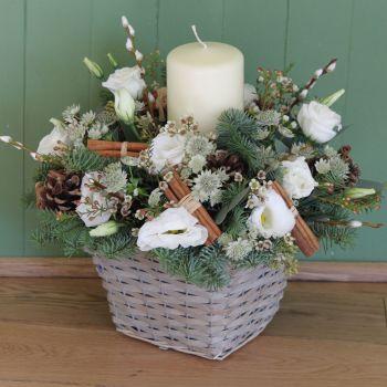 Classic White Christmas Basket