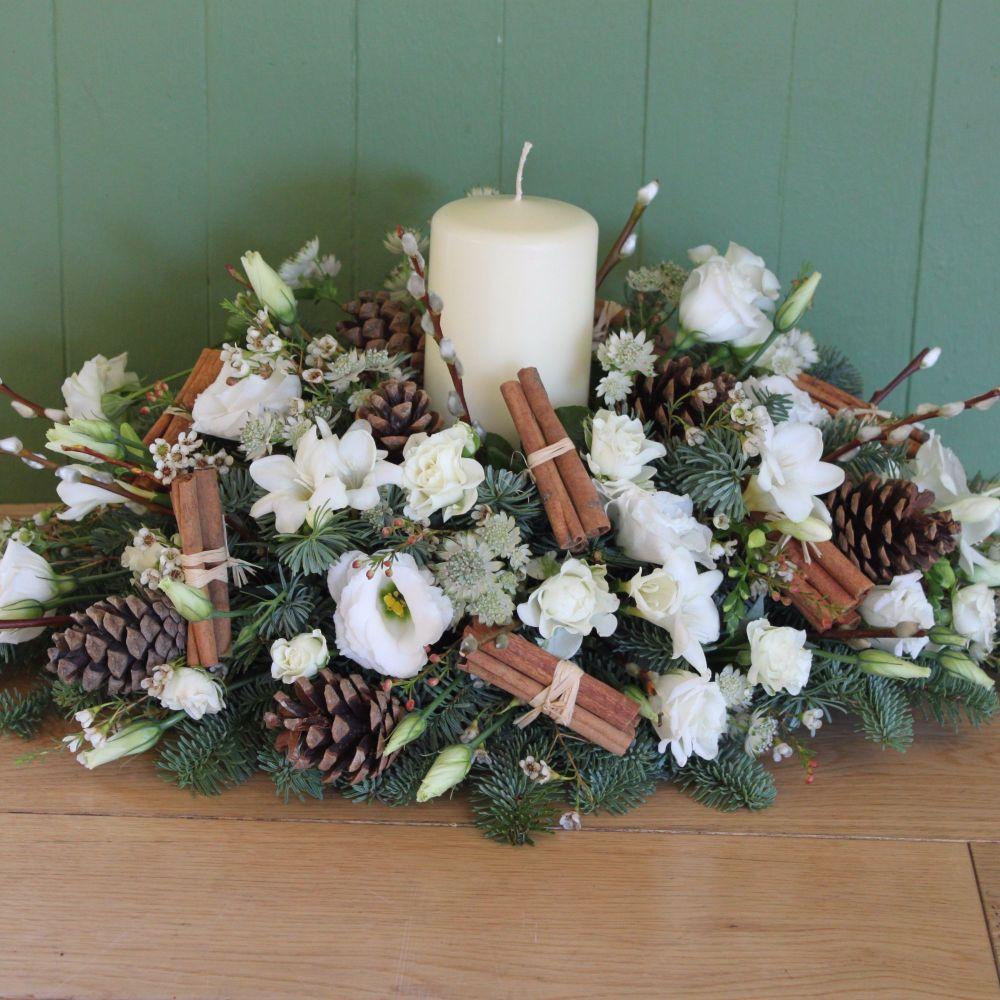 Classic White Christmas Candle Arrangement