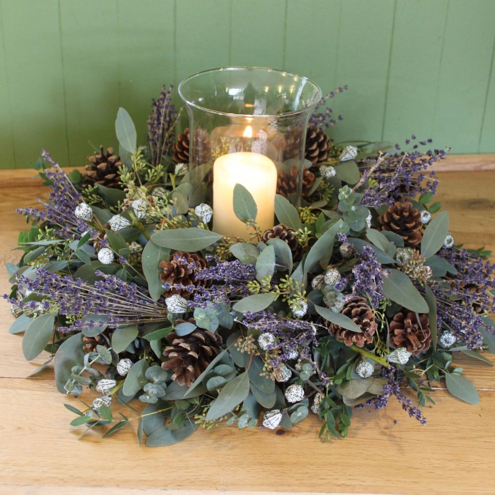Eucalyptus and Lavender Hurricane Arrangement