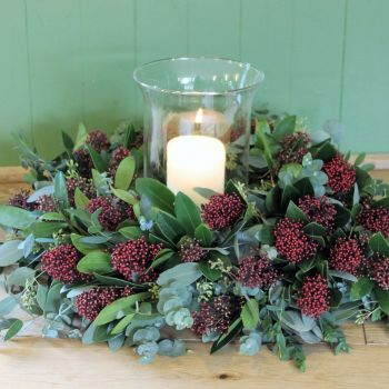 Eucalyptus and Skimmia Hurricane Arrangement