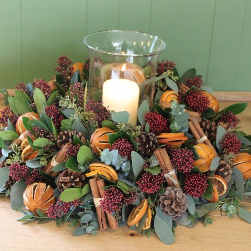 Foliage and Fruit Hurricane Arrangement