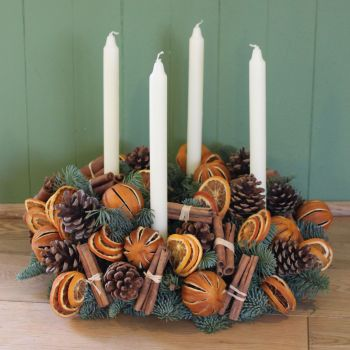 Orange and Cinnamon Advent Candle Arrangement