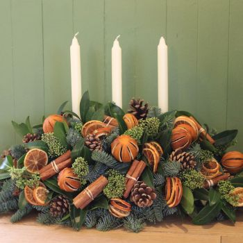 Orange and Cinnamon Triple Candle Arrangement