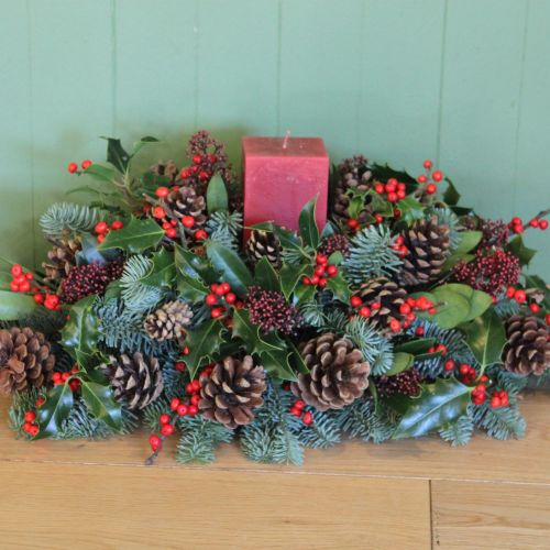 Red Berry Candle Arrangement