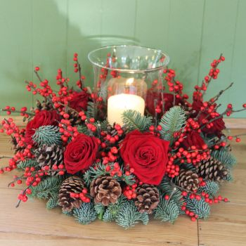Winter Berry Hurricane Arrangement