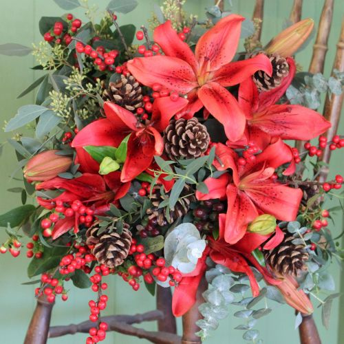 Red Berry and Lily Bouquet