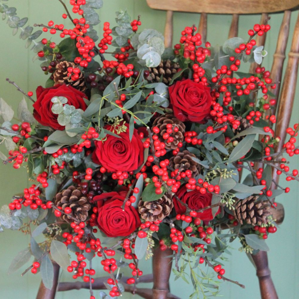 Red Berry and Rose Bouquet