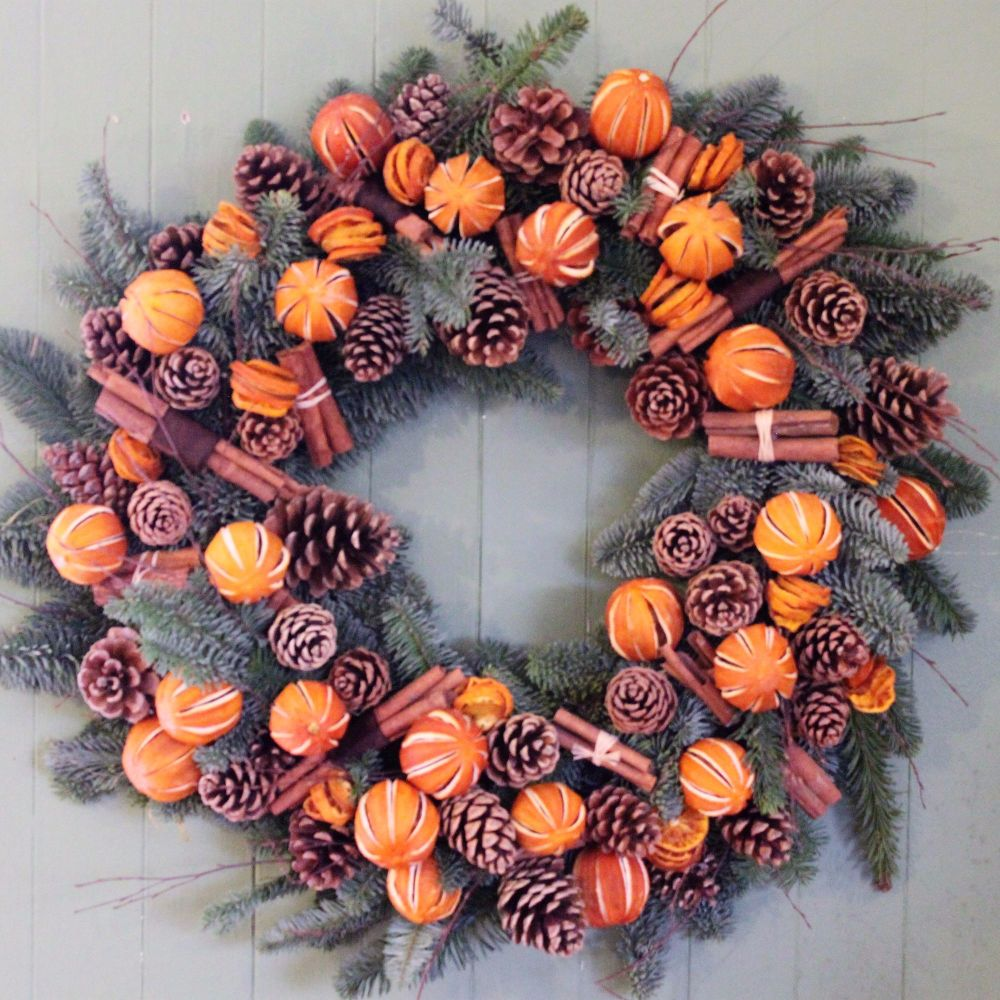 Flowercraft Lindfield S Orange And Cinnamon Christmas Door