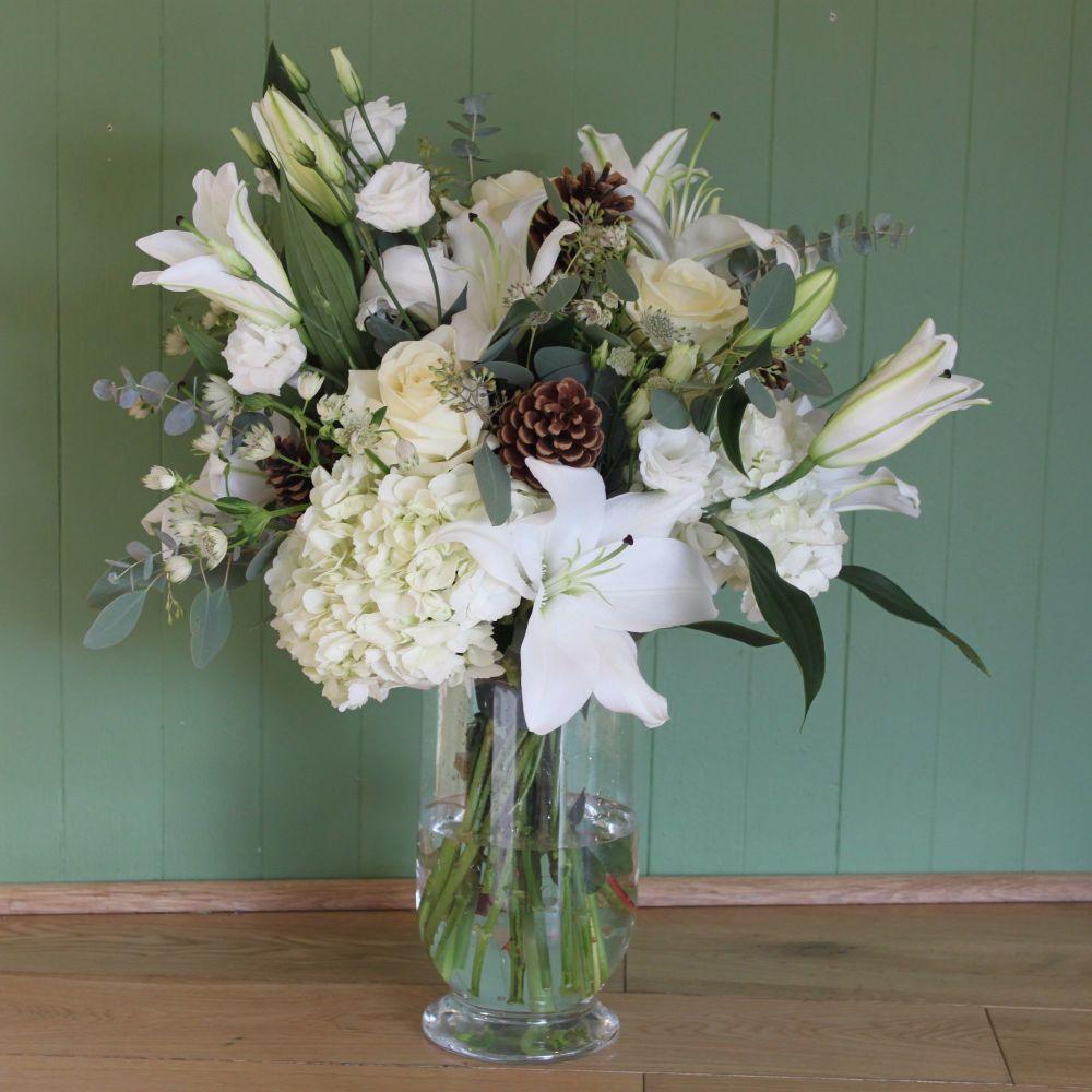 White Christmas Vase