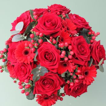 Red Naomi Rose and Gerbera Valentine's Bouquet. Price from