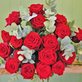 A Luxury Bouquet of a Dozen Long-stemmed Red Naomi Roses. Price from