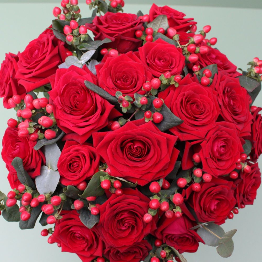 A Luxury Dozen Red Naomi Rose Knot