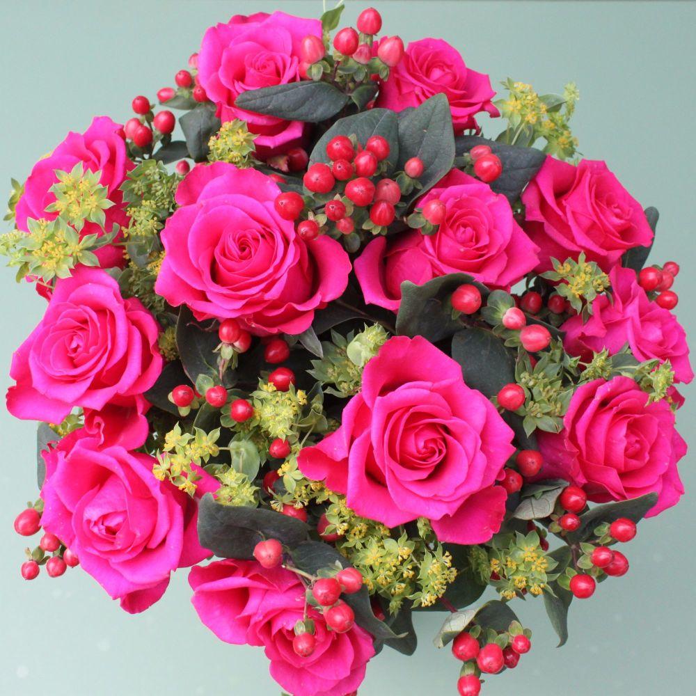 Cerise Rose Valentine's Bouquet