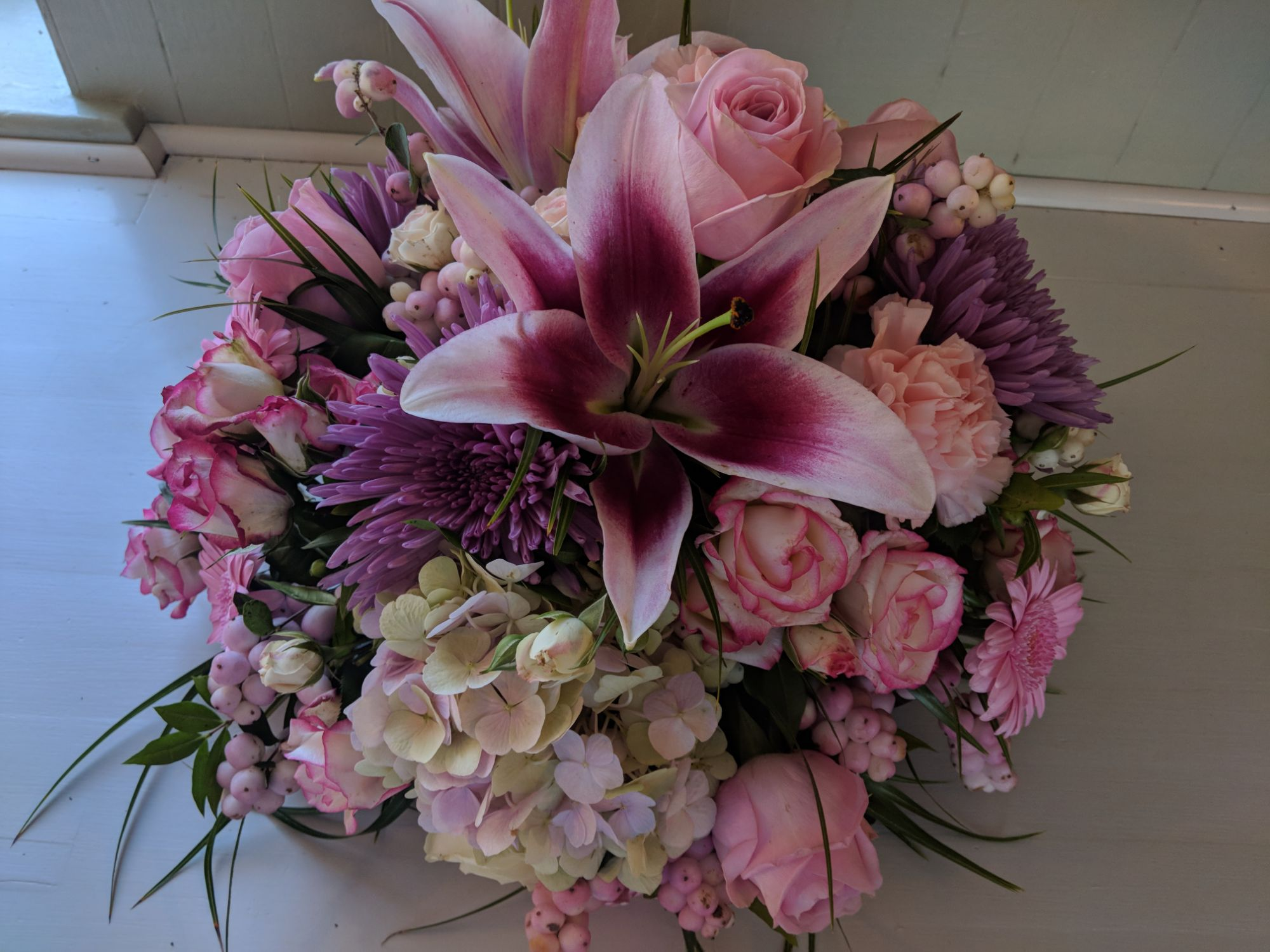Purple and pink posy