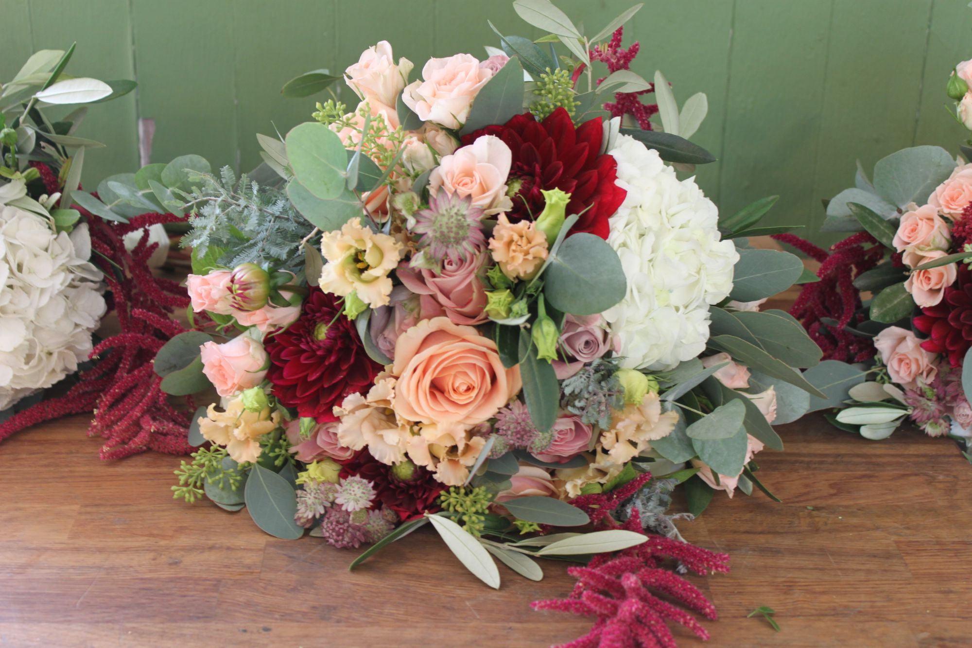 Natural Dahlia and Rose Wedding Flowers