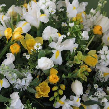 White & Yellow Seasonal Spring Coffin Spray
