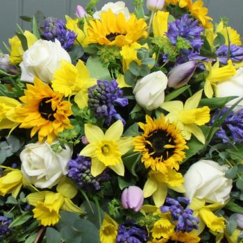 White, Yellow & Blue Seasonal Spring Coffin Spray