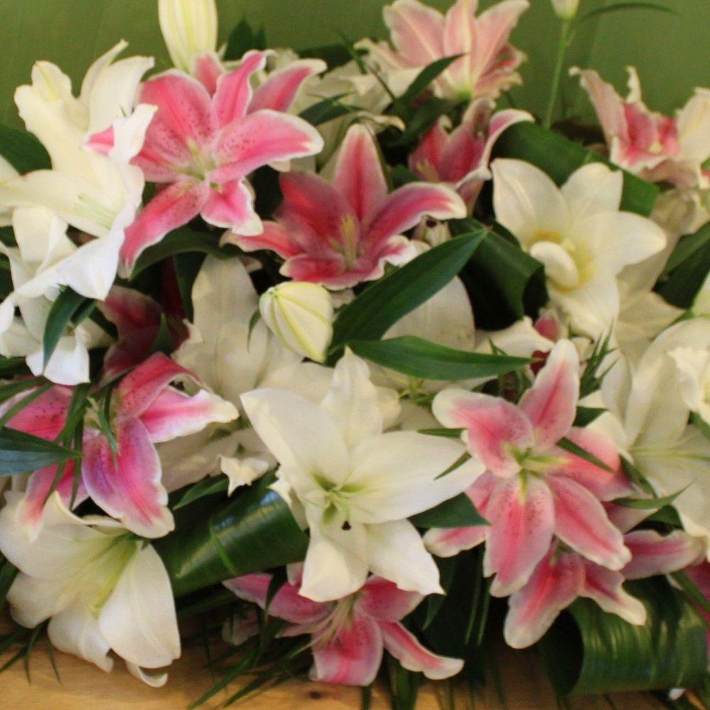 White & Pink Oriental Lily Coffin Spray