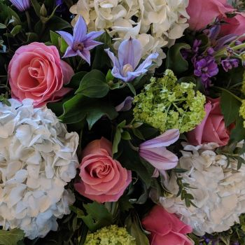 Pink Rose, White Hydrangea, Guelda Rose & Clematis Coffin Spray