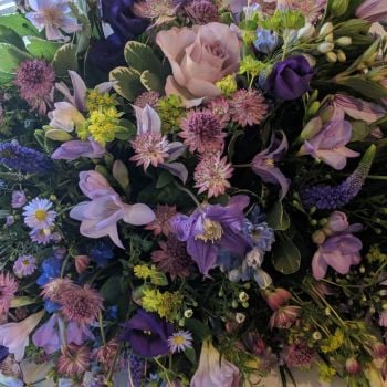 Cottage Garden Purples Coffin Spray