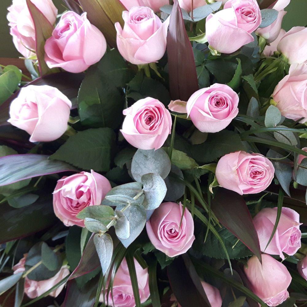 Pink Rose Coffin Spray