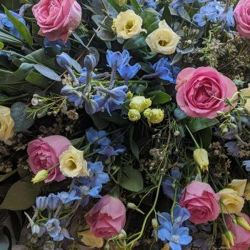 Pink Rose, Pale Blue Delphinium & Cream Lisianthus Coffin Spray
