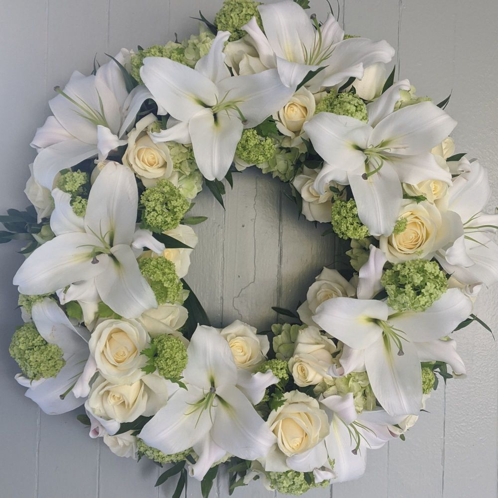 White and Green Lily and Rose Wreath