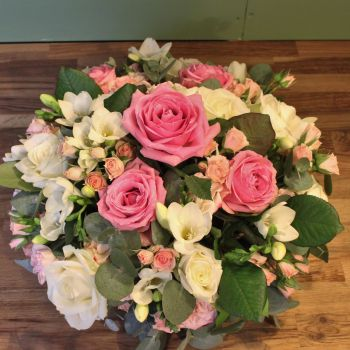 Pink & White Rose & Freesia Posy