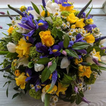 Yellow White & Purple Posy