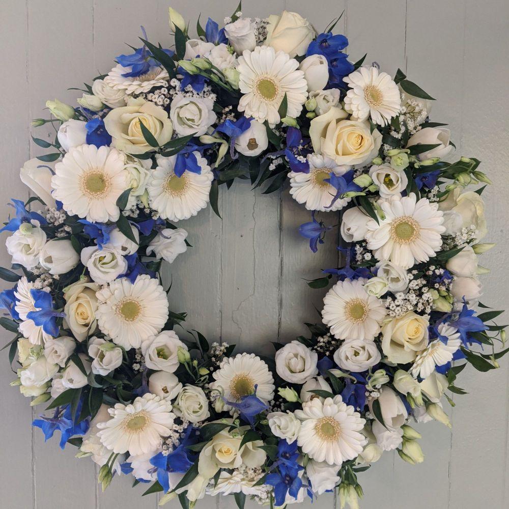 Royal Blue & White Wreath